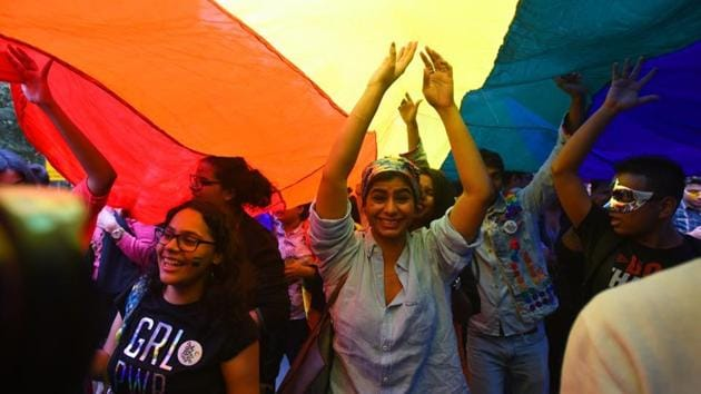 Members and allies of the lesbian, gay, bisexual, transgender (LGBT) community take part in Queer Pride March(Amal KS/HT PHOTO)