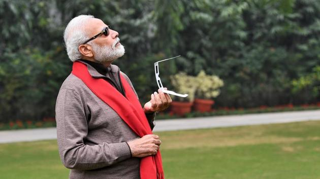 PM Modi posted a tweet about watching the solar eclipse, which is occurring today.(Twitter/@narendramodi)