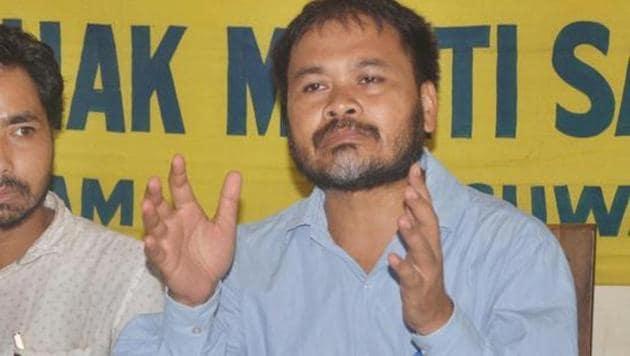 Krishak Mukti Sangram Samiti leader Akhil Gogoi addressing media in Guwahati on Wednesday.(PTI file photo)