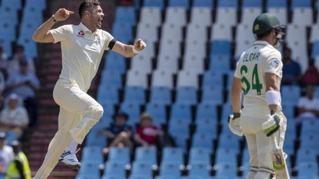 England's bowler James Anderson, left, jumps as he celebrates after dismissing South Africa's Dean Elgar(AP)