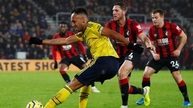 Arsenal's Pierre-Emerick Aubameyang in action.(REUTERS)