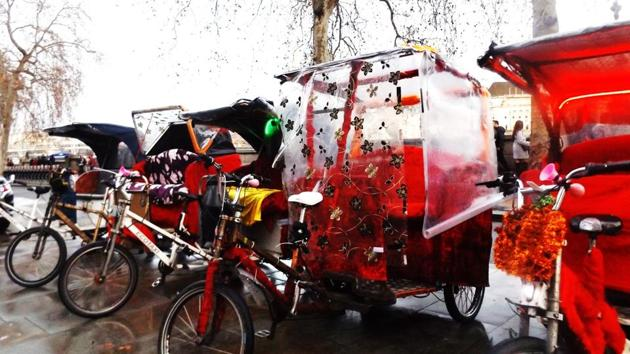 Cycle-rickshaws are increasingly visible in central London.(HT Photo)