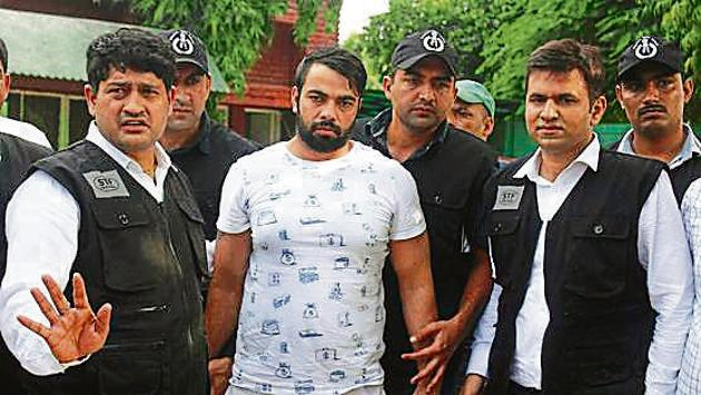 Kaushal, one of the most wanted gangsters in Gurugram, was arrested from Indira Gandhi International Airport, on August 26.(Yogendra Kumar/HT Photo)
