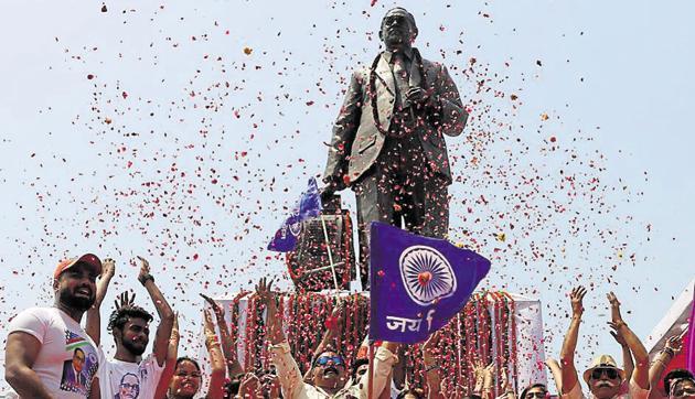 People celebrate the 127th birth anniversary of BR Ambedkar, Noida, April 14(Virendra Singh Gosain/HT PHOTO)