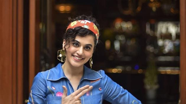 Taapsee Pannu during the promotion of her film Saand Ki Aankh.(PTI)