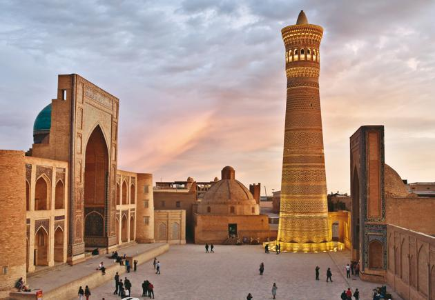 The Kalyon Minar is the only structure of the Poi Kalyon square that Genghis Khan spared from destruction
