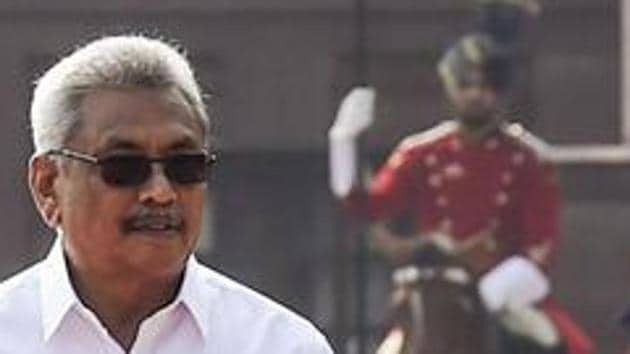 President Gottabaya Rajapaksa suspended he playing of National Anthem of the island nation in Tamil on its Independence day in February.(PTI)