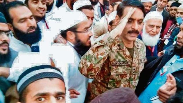 Pakistan's chief military spokesman Major General Asif Ghafoor at Jamia Rashidia in Karachi on December 27.(by arrangement)