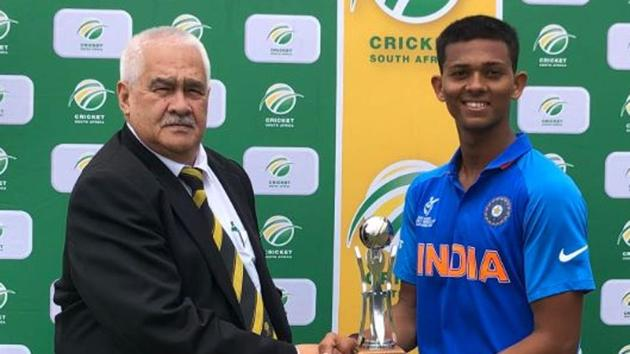 Yashasvi Jaiswal with the man of the match trophy(CSA/ Twitter)