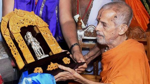 The 88-year-old Swamiji, hospitalised on December 20 after he developed breathing difficulty, has since been in the ICU, the bulletin said.(PTI Photo)
