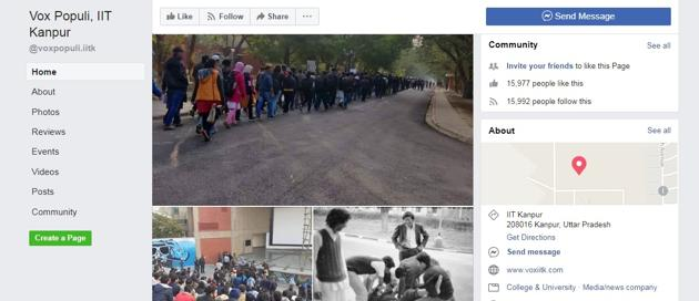 Facebook page Vox Populi is run by students of IIT, Kanpur.