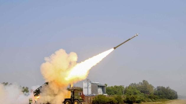 A Pinaka missile is test-fired during a trial conducted by Defence Research and Development Organisation (DRDO) at Chandipur in Baleswar district of Odisha.(PTI Photo)