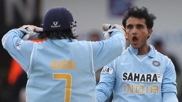 File image of former India captain Sourav Ganguly with MS Dhoni.(Getty Images)