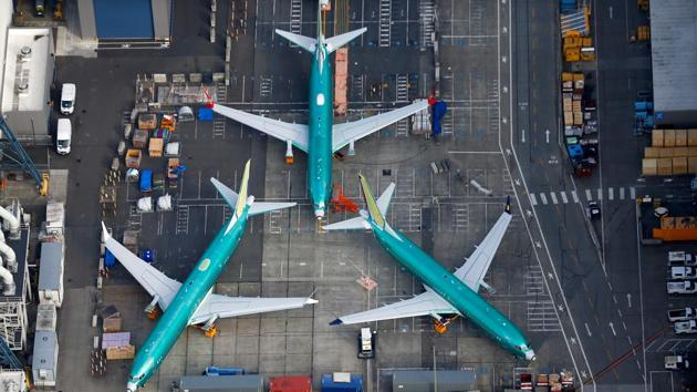 An aerial photo shows Boeing 737 MAX airplanes parked on the tarmac at the Boeing Factory in Renton, Washington, U.S.(REUTERS)