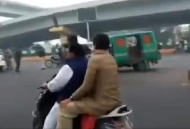 National secretary of AICC and co-incharge Uttar Pradesh Dheeraj Gujjar was fined for not wearing helmet, also for not ensuring his pillion rider, Priyanka Gandhi, wore a helmet.(Twitter/@ArjitSi64643032)