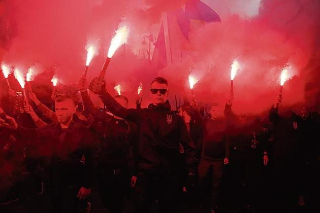 Members of a white nationalist group during a rally in Ukraine in October 2019.(AP)