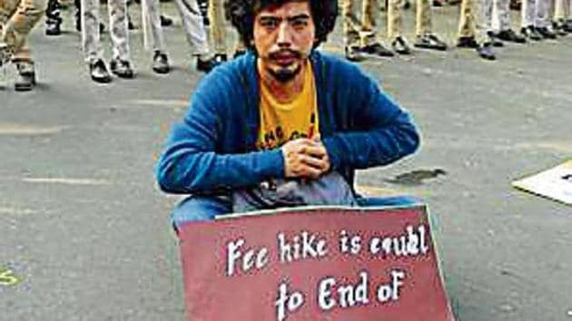 JNU students have been protesting since October 28 this year.(Amal KS/HT file PHOTO)