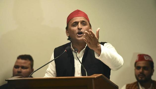 Samajwadi Party National President Akhilesh Yadav addresses a press conference at party office in Lucknow, Sunday, Dec. 29. 2019.(PTI)