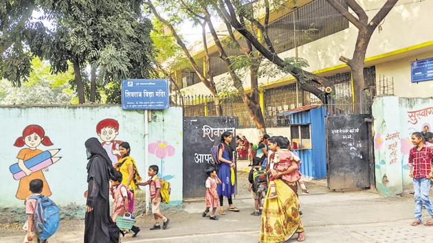 Shivraj Vidya Mandir, a three-storyed school in Wadgaonsheri.(Shankar Narayan/HT PHOTO)