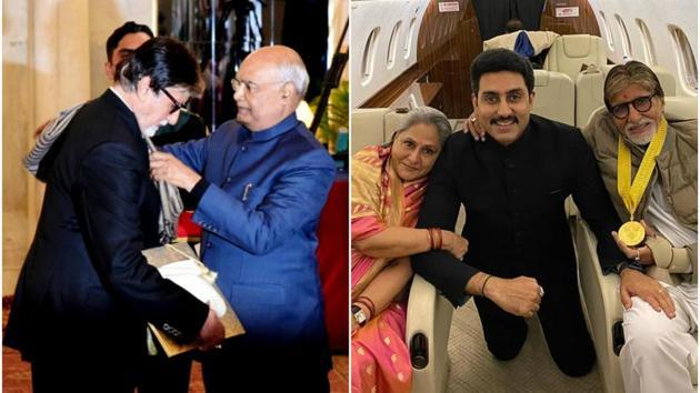 Amitabh Bachchan was accompanied by wife Jaya Bachchan and son Abhishek Bachchan as he received the Dadasaheb Phalke Award from President Ram Nath Kovind on Sunday.(Amitabh Bachchan's blog/Abhishek Bachchan's Instagram)