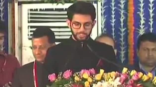 Aaditya Thackeray being sworn in as minister. (ANI photo)