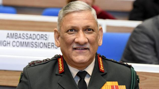 Chief of Army Staff of the Indian Army General Bipin Rawat during Prime Minister Narendra Modi's launch of the Atal Bhujal Yojana and Atal Tunnel Yojna at Vigyan Bhawan, New Delhi.(Sonu Mehta/HT PHOTO)
