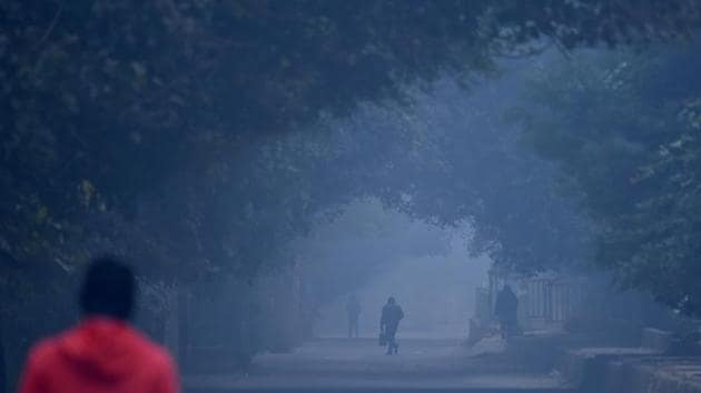 People out on a foggy morning at Moti Bagh in New Delhi, on 28 December.(HT PHOTO)