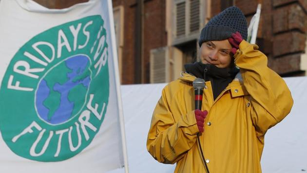 Swedish environmental activist Greta Thunberg attends a climate march, in Turin, Italy.(Photo: AP)