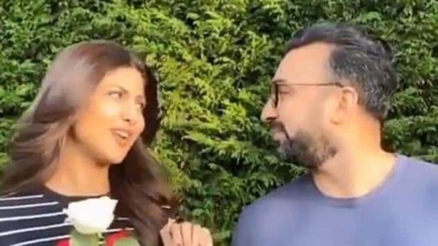 Shilpa Shetty and Raj Kundra in a still from the fun-filled video.
