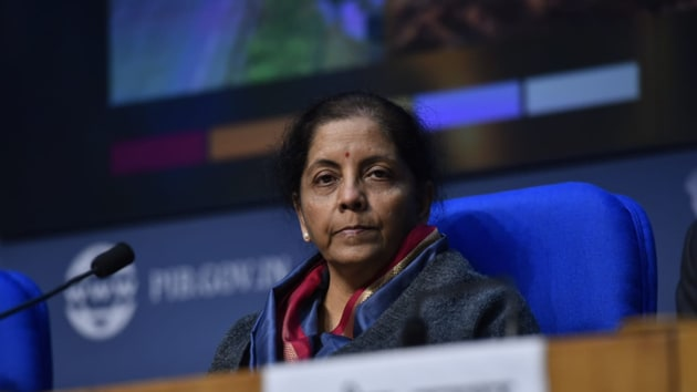 Finance minister Nirmala Sitharaman addresses a press conference at National Media Centre, in New Delhi.(Photo: Sanjeev Verma/ Hindustan Times)
