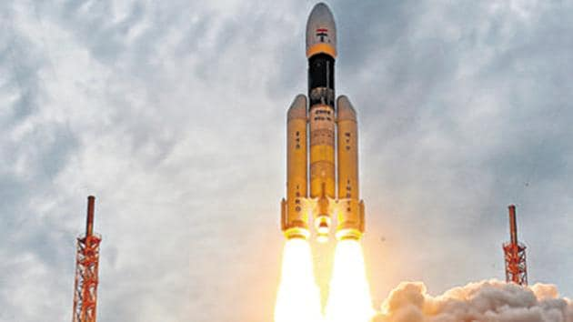 The picture shows Chandrayaan-2 lifting off onboard GSLV Mk III-M1 launch vehicle from Satish Dhawan Space Center at Sriharikota in Andhra Pradesh on July 22, 2019.(PTI FILE)