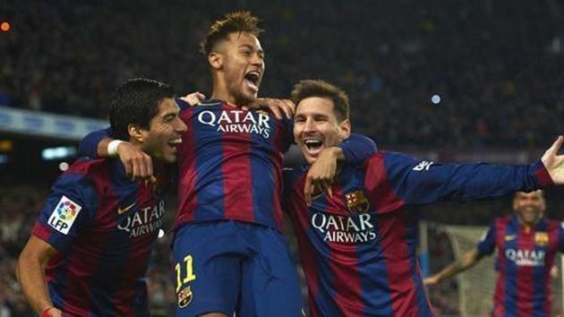 Lionel Messi, right, Neymar, center, and Luis Suarez.(AP)