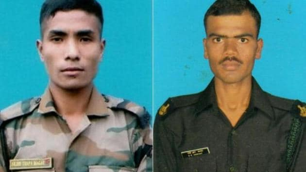 Arjun Thapa Magar (on the left) and Naik Sawant Sandip Raghunath (on the right) were killed in an exchange of fire with militants in Jammu and Kashmir on the New Year day.(Sourced Photo)