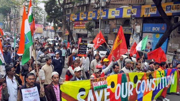 Left Front parties and Congress workers participate in a joint protest rally against CAA, NRC and NPR.(PTI)