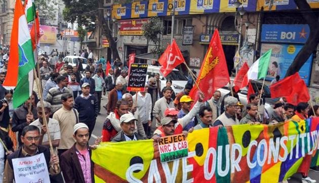 Left Front parties and Congress workers participate in a joint protest rally against CAA, NRC and NPR, Kolkata, December 27, 2019(PTI)