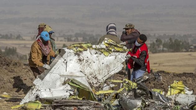File photo dated March 11, 2019, rescuers work at the scene of an Ethiopian Airlines plane crash south of Addis Ababa, Ethiopia.(AP File Photo)