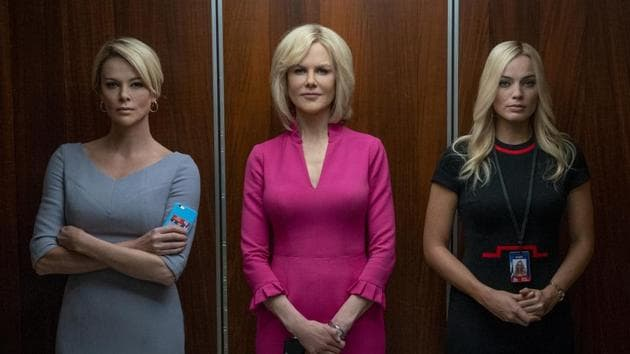Bombshell movie review: This image released by Lionsgate shows Charlize Theron, from left, Nicole Kidman and Margot Robbie in a scene from Jay Roach's new film.(AP)