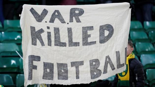 Norwich City fans hold up a banner regarding VAR after the match.(Action Images via Reuters)