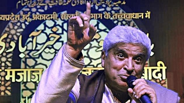 Renowned lyricist Javed Akhtar addresses during a programme organised by Madhya Pradesh Urdu Academy and State Culture department at Ravindra Bhawan in Bhopal.