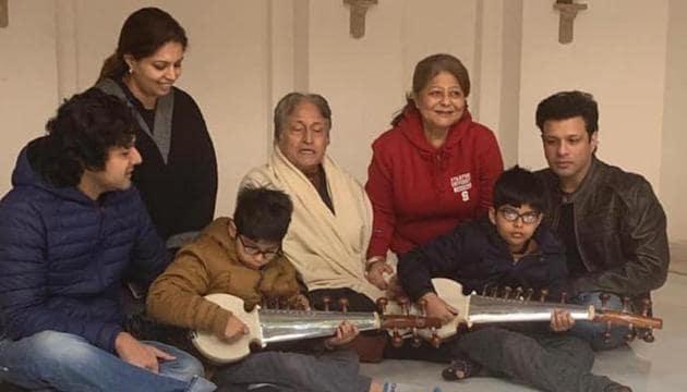 Ustad Amjad Ali Khan with his family at Sarod Ghar museum.