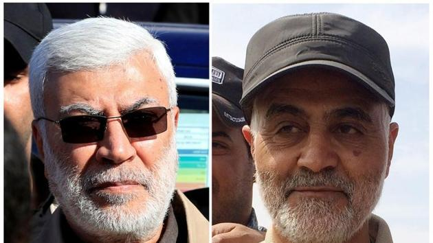 Combination of file photos showing (L) Abu Mahdi al-Muhandis, a commander in the Popular Mobilization Forces, attending a funeral procession of Hashd al-Shaabi (paramilitary forces) members, who were killed by U.S. air strikes in Qaim district, at the Green zone in Baghdad, Iraq December 31, 2019 and (R) Iranian Revolutionary Guard Commander Qassem Soleimani standing at the frontline during offensive operations against Islamic State militants in the town of Tal Ksaiba in Salahuddin province.(REUTERS)