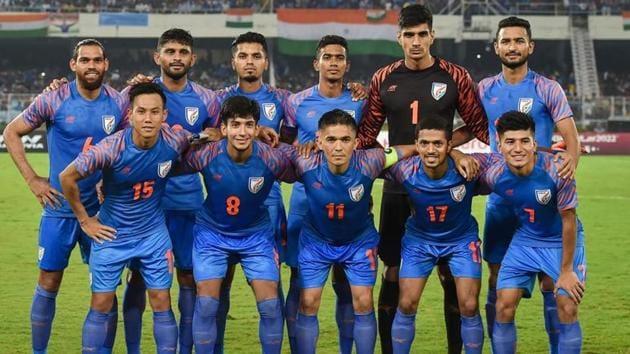 Kolkata: Indian football team Captain Sunil Chhetri (C) with teammates pose for photos ahead of FIFA World Cup Qatar-2022 Qualifier match against Bangladesh, at Salt Lake Stadium in Kolkata, Tuesday, Oct. 15, 2019.(PTI)