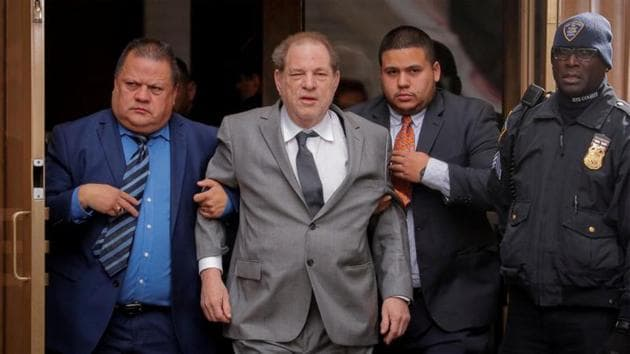 Harvey Weinstein exits following a hearing in his sexual assault case at New York State Supreme Court in New York.(REUTERS)
