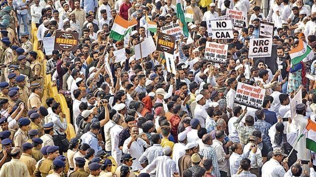 People protesting against CAA(Satyabrata Tripathy/Hindustan Times)