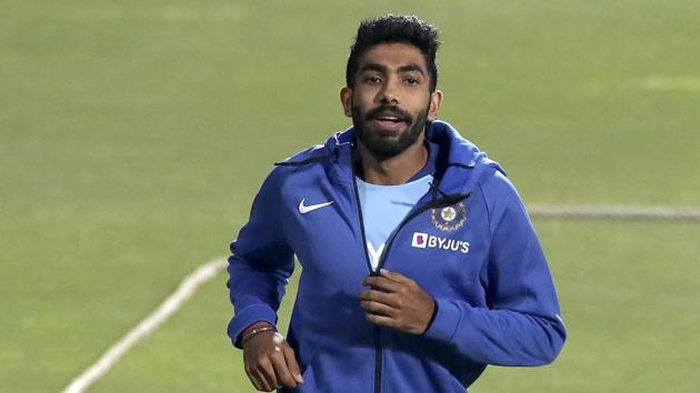 India's Jasprit Bumrah runs to warm up during a training session.(AP)