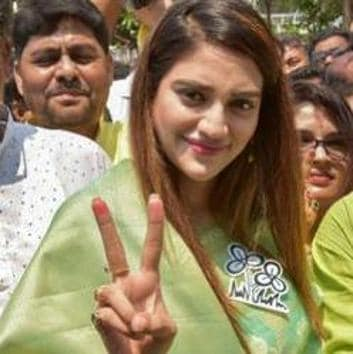 Trinamool Congress MP Nusrat Jahan said she received death threats on social media for posting a video in which she was featured as Goddess Durga.(PTI FILE PHOTO)