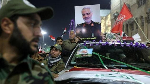 Mourners attend the funeral procession of the Iranian Major-General Qassem Soleimani, head of the elite Quds Force of the Revolutionary Guards, and the Iraqi militia commander Abu Mahdi al-Muhandis, who were killed in an air strike at Baghdad airport, in Kerbala, Iraq, January 4, 2020.(REUTERS)