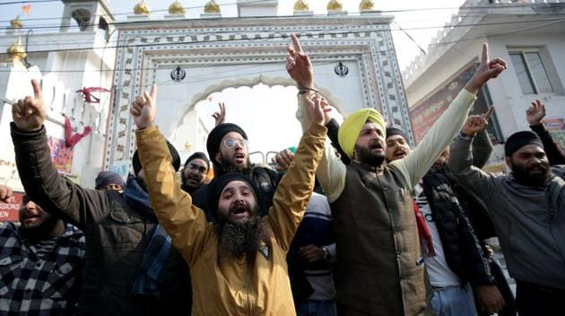 Sikh people raise slogans during a protest against the Pakistan government over the attack on Gurdwara Nankana Sahib, in Jammu on Saturday.(ANI file photo)