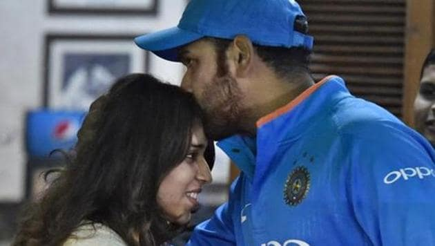 India's captain Rohit Sharma with his wife Ritika Sajdeh.(PTI)