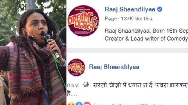 Swara Bhasker has wrongly slammed Raaj Shaandilyaa for a comment made on his Facebook account.